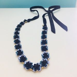 J. Crew Sequin-Daisy tie necklace